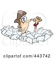 Royalty Free RF Clip Art Illustration Of A Cartoon Businesswoman Drowning In Papers by toonaday