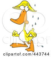 Royalty Free RF Clip Art Illustration Of A Cartoon Duck In The Rain by toonaday