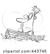 Royalty Free RF Clip Art Illustration Of A Cartoon Black And White Outline Design Of A Man Drifting In A Boat