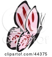 Clipart Illustration Of A Fluttering Pink Butterfly Going Right by Frisko