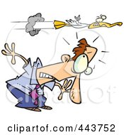 Royalty Free RF Clip Art Illustration Of A Cartoon Duck Flying Over A Ducking Businessman by toonaday