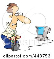 Royalty Free RF Clip Art Illustration Of A Cartoon Businessman Blowing Up His Computer With Dynamite by toonaday