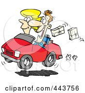 Royalty Free RF Clip Art Illustration Of A Cartoon Couple In A Car Dropping Packages by Ron Leishman