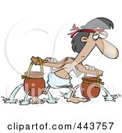Royalty Free RF Clip Art Illustration Of A Cartoon Slave Carrying Holy Water Pots