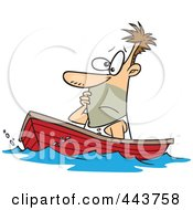Royalty Free RF Clip Art Illustration Of A Cartoon Man Drifting In A Boat by toonaday