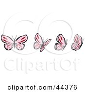 Clipart Illustration Of A Fluttering Pink Butterfly In Motion by Frisko