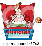 Royalty Free RF Clip Art Illustration Of A Cartoon Man Sitting On A Dunk Tank