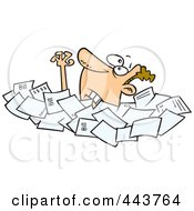 Royalty Free RF Clip Art Illustration Of A Cartoon Businessman Drowning In Papers by toonaday
