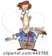 Royalty Free RF Clip Art Illustration Of A Cartoon Man Dripping Ketchup On His Shirt by toonaday