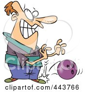 Royalty Free RF Clip Art Illustration Of A Cartoon Man Dropping A Bowling Ball On His Foot by toonaday