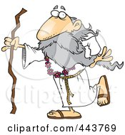 Royalty Free RF Clip Art Illustration Of A Cartoon Druid Man Carrying A Stick by toonaday