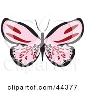 Clipart Illustration Of A Fluttering Pink Butterfly With Its Wings Wide Open by Frisko