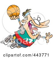 Royalty Free RF Clip Art Illustration Of A Cartoon Man Making A Slam Dunk by toonaday