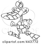 Cartoon Black And White Outline Design Of A Quilted Duck