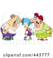 Royalty Free RF Clip Art Illustration Of A Cartoon Dysfunctional Family Fighting
