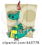 Royalty Free RF Clip Art Illustration Of A Cartoon Dinosaur Wearing A Dunce Hat by toonaday