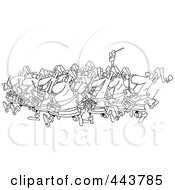 Royalty Free RF Clip Art Illustration Of A Cartoon Black And White Outline Design Of Drummers Drumming by toonaday