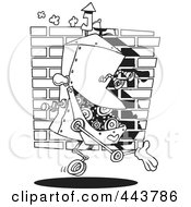 Cartoon Black And White Outline Design Of A Factory Robot