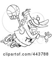 Royalty Free RF Clip Art Illustration Of A Cartoon Black And White Outline Design Of A Man Making A Slam Dunk