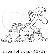 Royalty Free RF Clip Art Illustration Of A Cartoon Black And White Outline Design Of A Slave Carrying Holy Water Pots