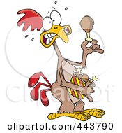 Royalty Free RF Clip Art Illustration Of A Cartoon Scared Chicken Holding A Drumstick