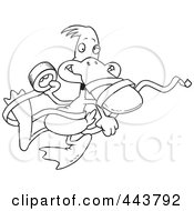 Royalty Free RF Clip Art Illustration Of A Cartoon Black And White Outline Design Of A Duck With Tape by toonaday