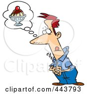 Royalty Free RF Clip Art Illustration Of A Cartoon Drooling Man Thinking Of A Sundae by toonaday