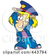 Royalty Free RF Clip Art Illustration Of A Cartoon Girl In A Police Costume