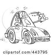 Cartoon Black And White Outline Design Of A Drunk Driver