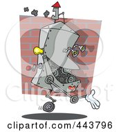 Royalty Free RF Clip Art Illustration Of A Cartoon Factory Robot by toonaday