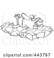 Royalty Free RF Clip Art Illustration Of A Cartoon Black And White Outline Design Of A Businessman Drowning In Papers