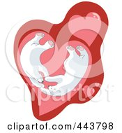 Royalty-Free (RF) Clip Art Illustration of Valentine Polar Bears In A Heart by Alexia Lougiaki #COLLC443798-0043