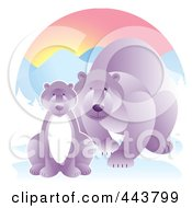 Royalty Free RF Clip Art Illustration Of A Mother Polar Bear By Her Cub In The Snow by Alexia Lougiaki