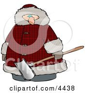 Overweight Man Wearing A Big Winter Coat And Holding A Snow Shovel Clipart