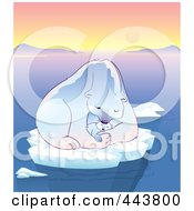 Royalty Free RF Clip Art Illustration Of A Mother Polar Bear Holding Her Cub On Floating Ice by Alexia Lougiaki
