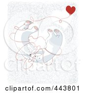 Royalty-Free (RF) Clip Art Illustration of Valentine Polar Bears Tangled In Love In A Heart by Alexia Lougiaki #COLLC443801-0043