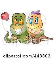 Royalty Free RF Clip Art Illustration Of An Octopus Pair In Love