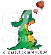 Royalty Free RF Clip Art Illustration Of A Crocodile With Love Hearts by dero