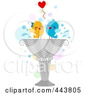 Two Love Birds Playing In A Bird Bath