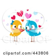 Royalty Free RF Clip Art Illustration Of A Romantic Love Bird Giving His Mate A Flower by BNP Design Studio