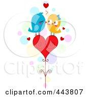 Royalty Free RF Clip Art Illustration Of Love Birds Kissing On A Heart