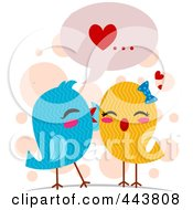 Royalty Free RF Clip Art Illustration Of Love Birds Whispering Sweet Nothings