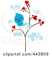 Royalty Free RF Clip Art Illustration Of A Lonely Love Bird In A Heart Tree