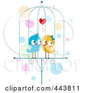 Royalty Free RF Clip Art Illustration Of Two Lovebirds In A Cage