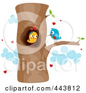 Royalty Free RF Clip Art Illustration Of Courting Love Birds In A Tree
