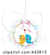 Royalty Free RF Clip Art Illustration Of Love Birds In A Round Cage