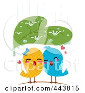 Royalty Free RF Clip Art Illustration Of A Leaf Sheltering Love Birds From The Rain