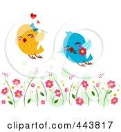 Royalty Free RF Clip Art Illustration Of Lovebirds Flying Through A Garden