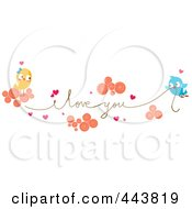 Royalty Free RF Clip Art Illustration Of Love Birds Carrying An I Love You String by BNP Design Studio