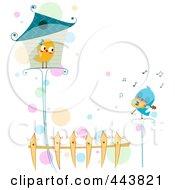 Royalty Free RF Clip Art Illustration Of A Love Bird Serenading His Love by BNP Design Studio